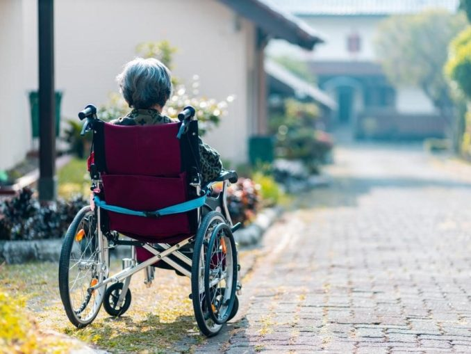 cannabis for dementia -- old lady in wheelchair